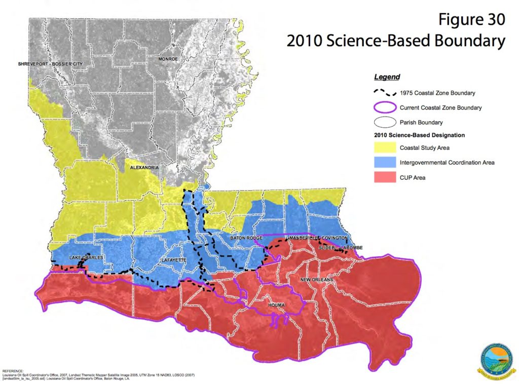 Revised coastal zone boundary established by Act 588 of the 2012 Regular Session of the Louisiana Legislature.