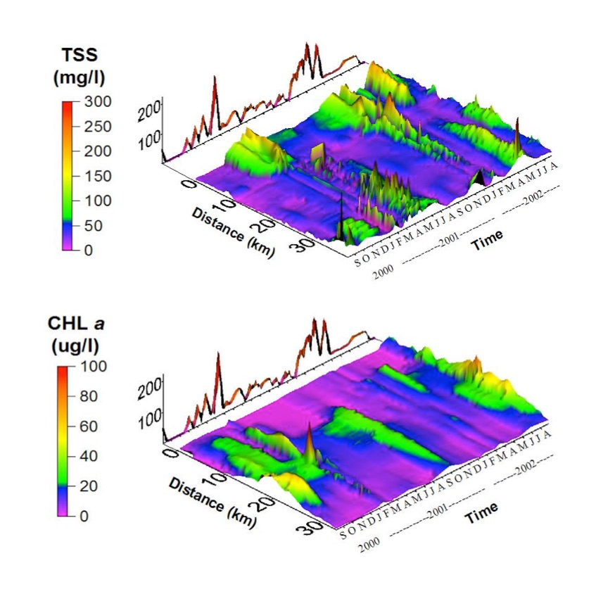 Spatial-temporal graphs of total suspended sediment (TSS) and chlorophyll a (CHL a) in the Breton Sound estuary. Time is shown on the x-axis and distance from the Caernarvon structure on the y-axis. Discharge from the Caernarvon diversion is indicated by the red line superimposed on the x-axis.